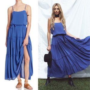 "Free People ""Valerie"" Blue Ruffle Maxi Dress"